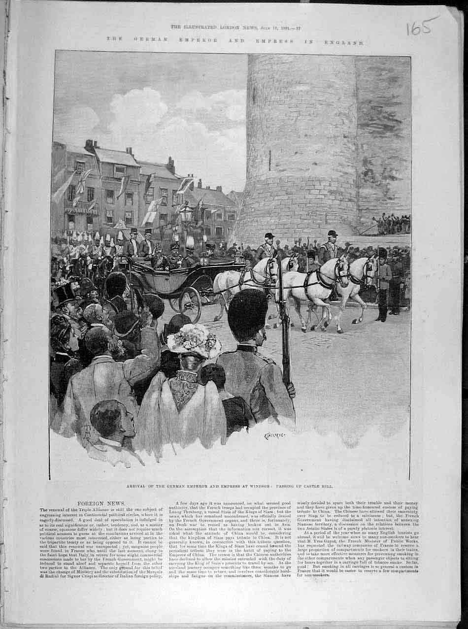Print 1891 German Emperor Empress Windsor Castle London 658041 Old Original