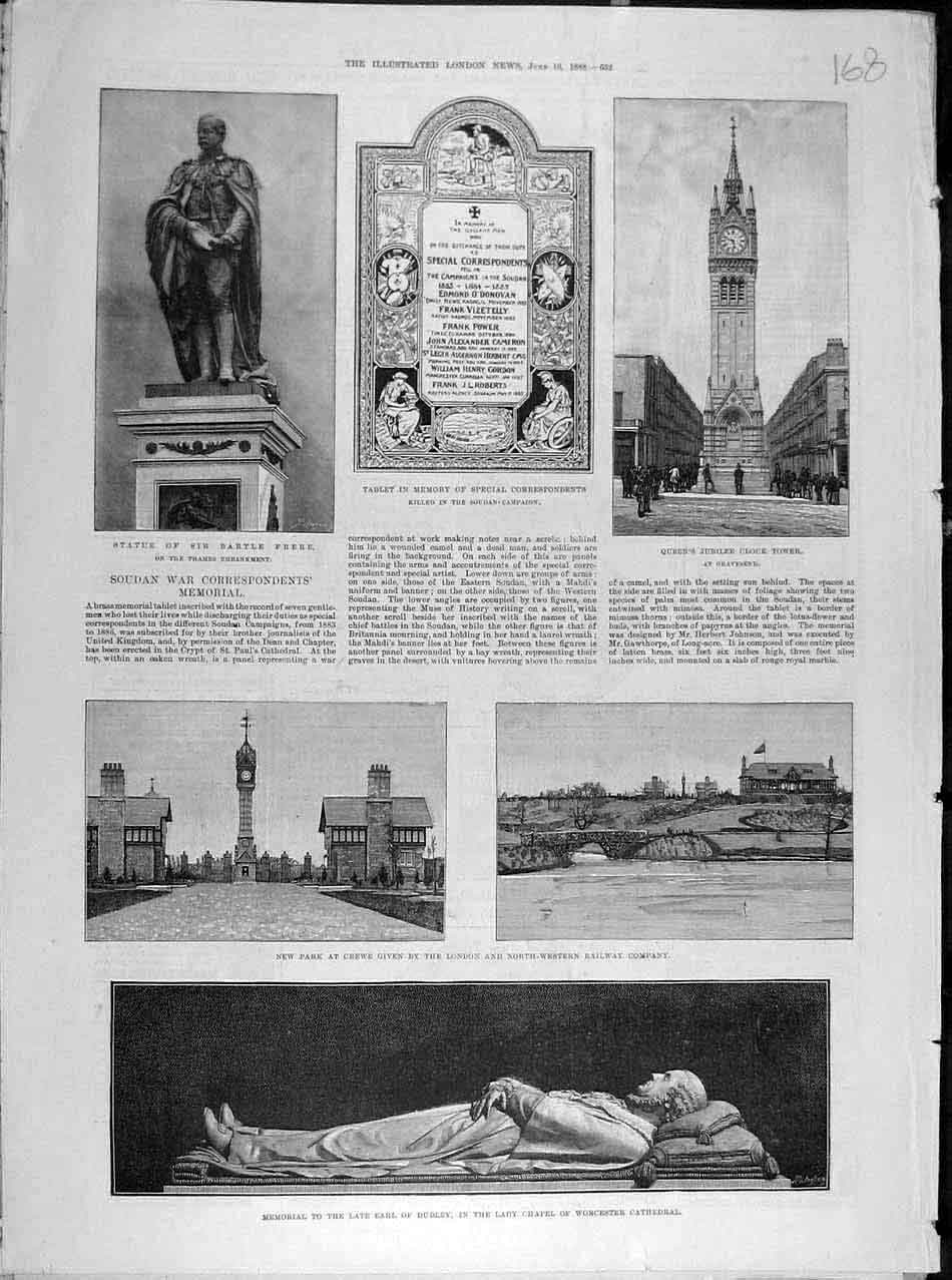 Print 1888 Frere Statue Queen Clock-Tower Park Crewe Dudley 688041 Old Original