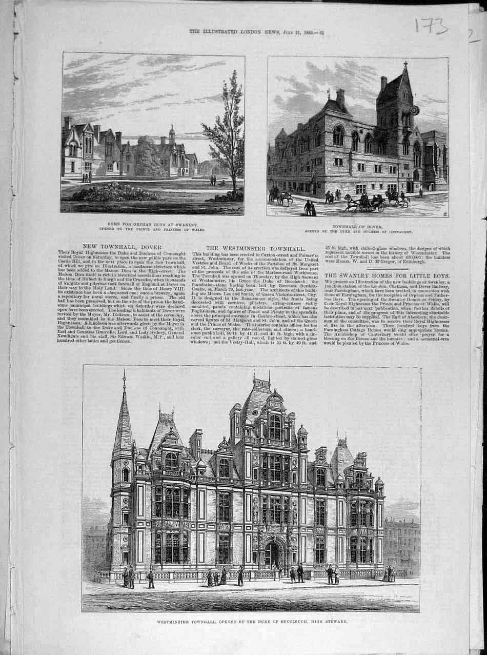 Print 1883 Swanley Dover Westminster Townhall Buildings 738041 Old Original