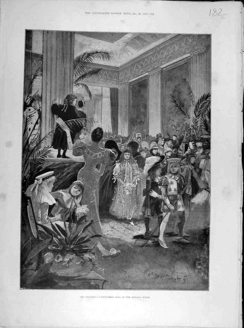 Print 1897 Children'S Fancy-Dress Ball Mansion House 828041 Old Original