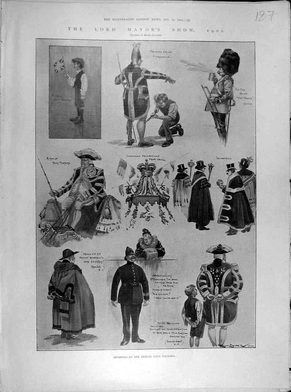Print 1902 Lord Mayor'S Show Humours Civil Pageant Sketches 878041 Old Original