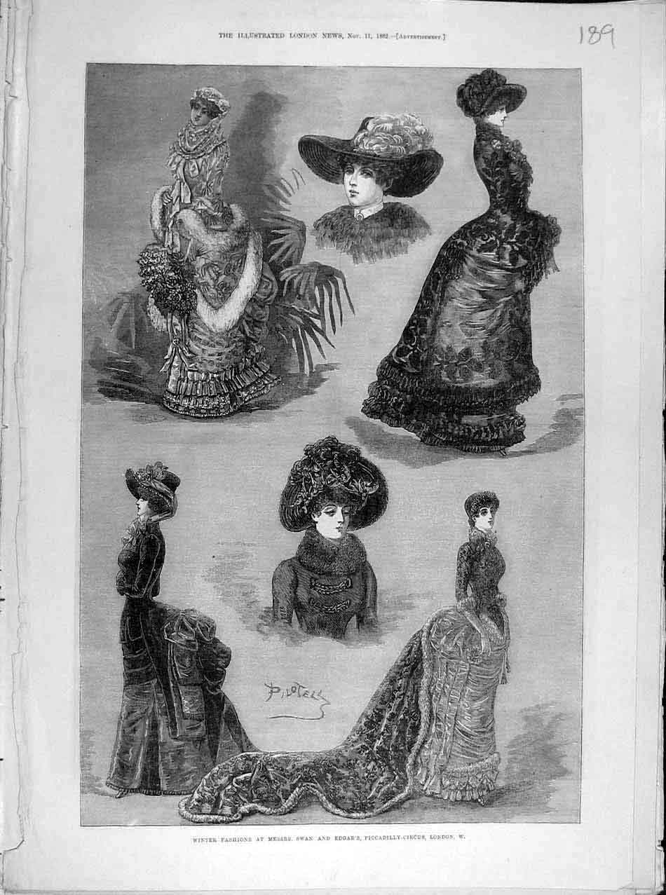 Print 1882 Winter Fashion Ladies Swan Edgar London 898041 Old Original
