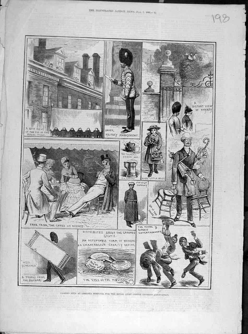Print 1883 Garden Fete Chelsea Hospital Army Coffee Taverns 988041 Old Original