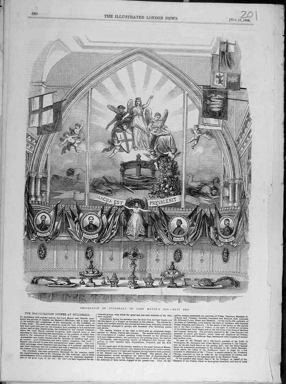 Print 1855 Decoration Guildhall Lord-Mayor'S Day East-End 018041 Old Original
