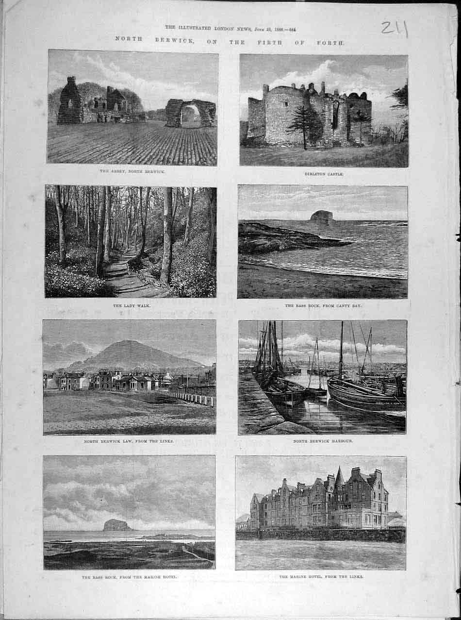 Print 1888 Berwick Firth-Forth Abbey Castle Harbour Links Bay 118041 Old Original