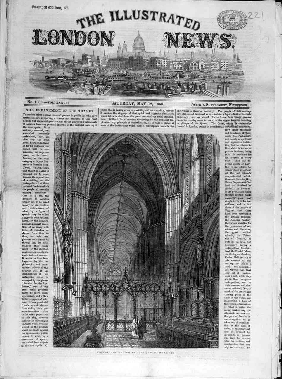 Print 1860 Choir Lichfield Cathedral Building Architecture 218041 Old Original