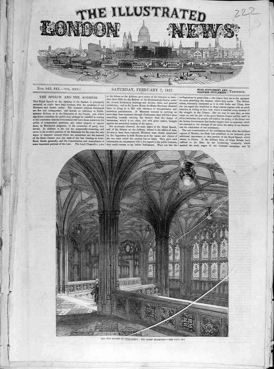 Print 1857 Houses Parliament Peers Staircase 228041 Old Original