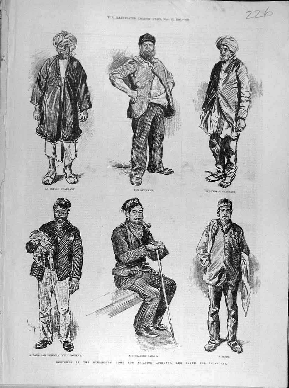 Print 1890 Sketches Asiatic African Islanders Stranger'S Home 268041 Old Original