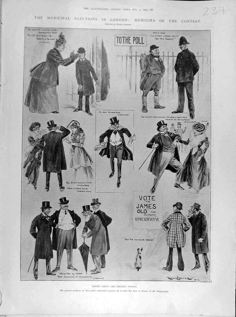 Print 1903 Municipal Elections London Humour Sketches People 378041 Old Original