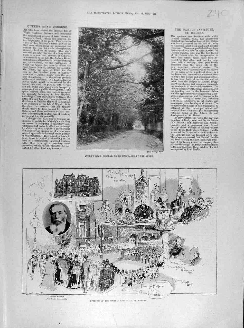 Print 1896 Osborne Queen'S Road Gamble Institute St Helen'S 408041 Old Original