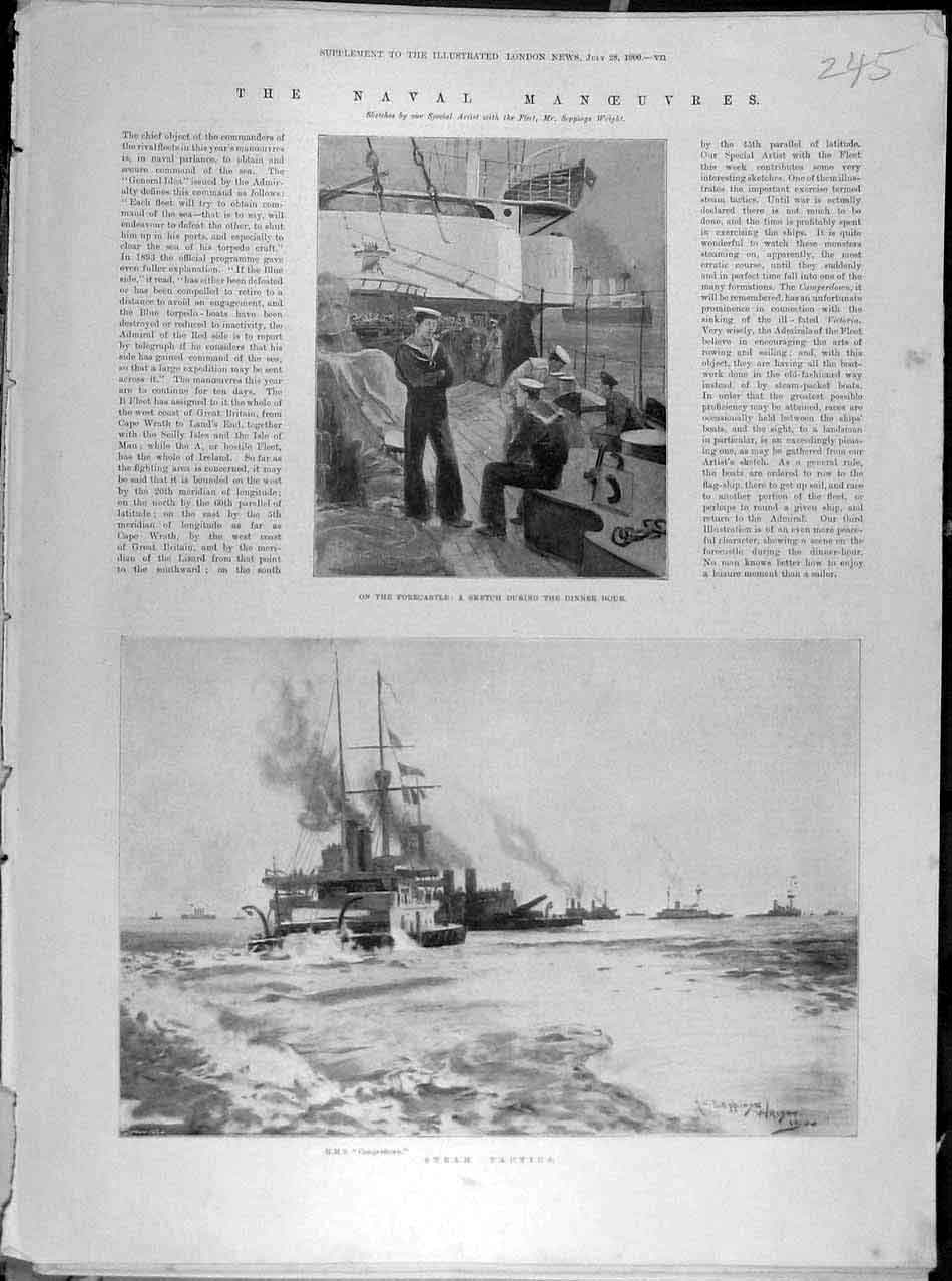 Print 1900 Naval Manoeuvres Sketch Hms Camperdown Steam Ship 458041 Old Original