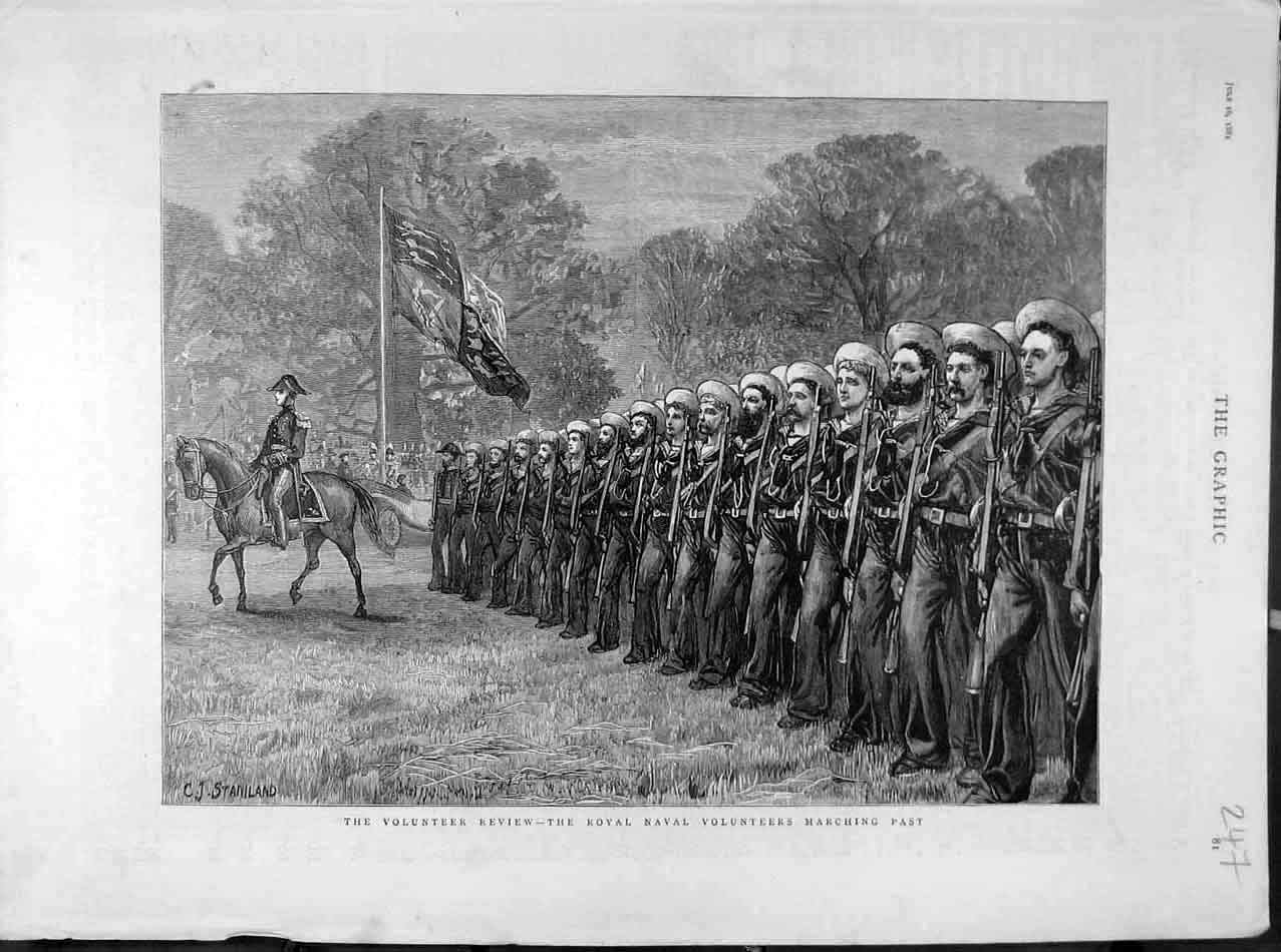 Print 1881 Volunteer Review Royal Naval Stniland Military 478041 Old Original