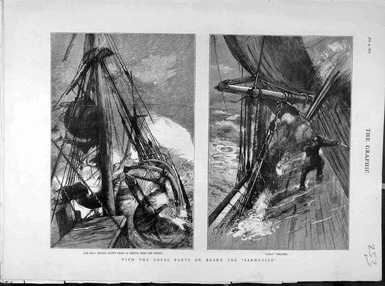 Print 1879 Sarmatian Sketches Trysail Curly Weather Storm 538041 Old Original