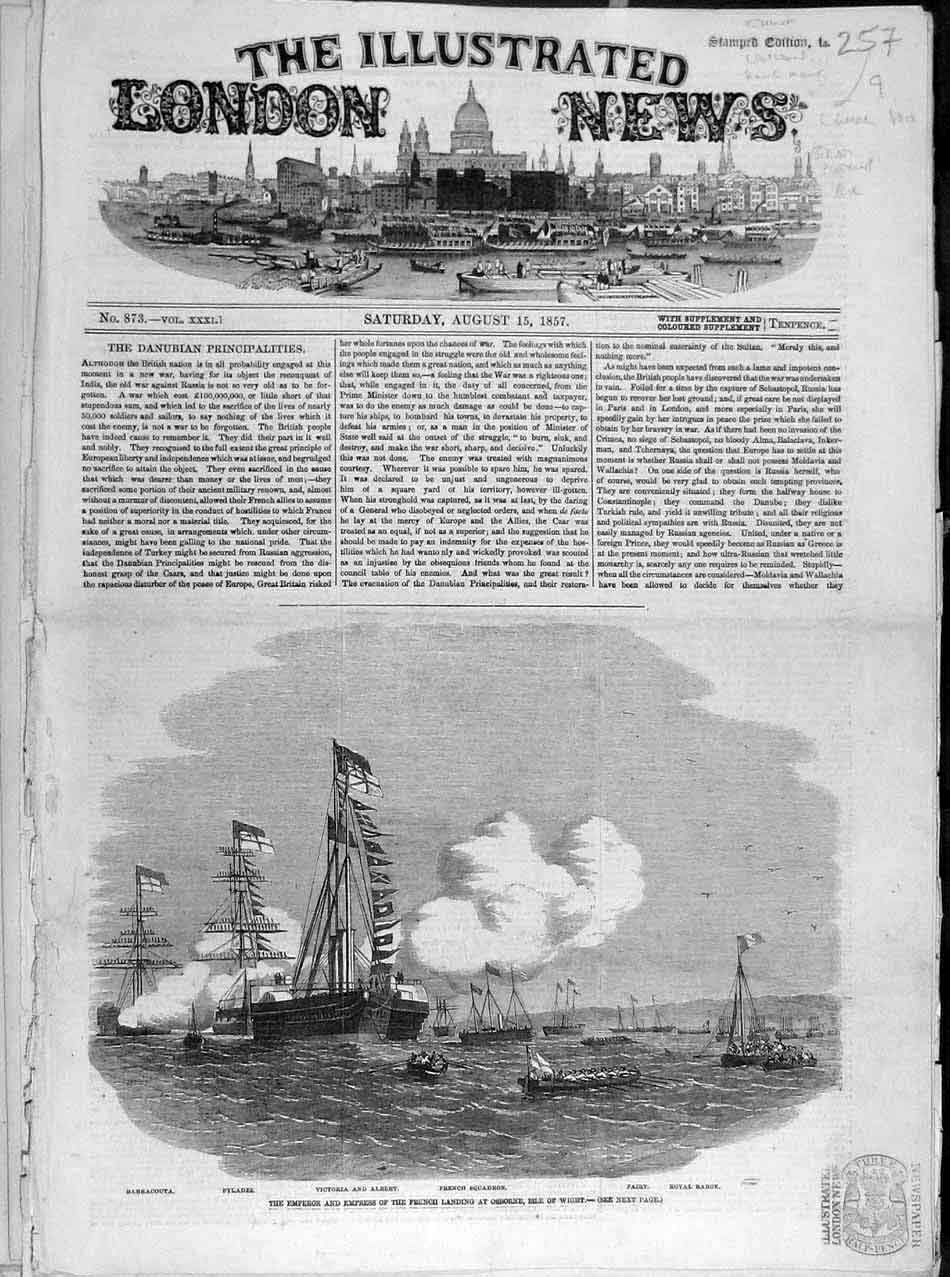 Print 1857 Osborne Isle Wight Emperor French Royal Fleet Ship 578041 Old Original