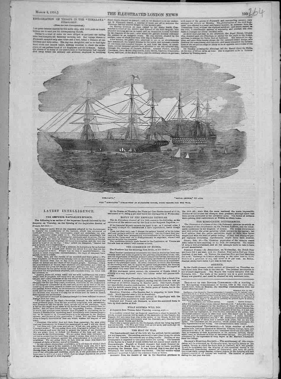 Print 1854 Himalaya Steam-Ship Plymouth Royal-George Troops 648041 Old Original