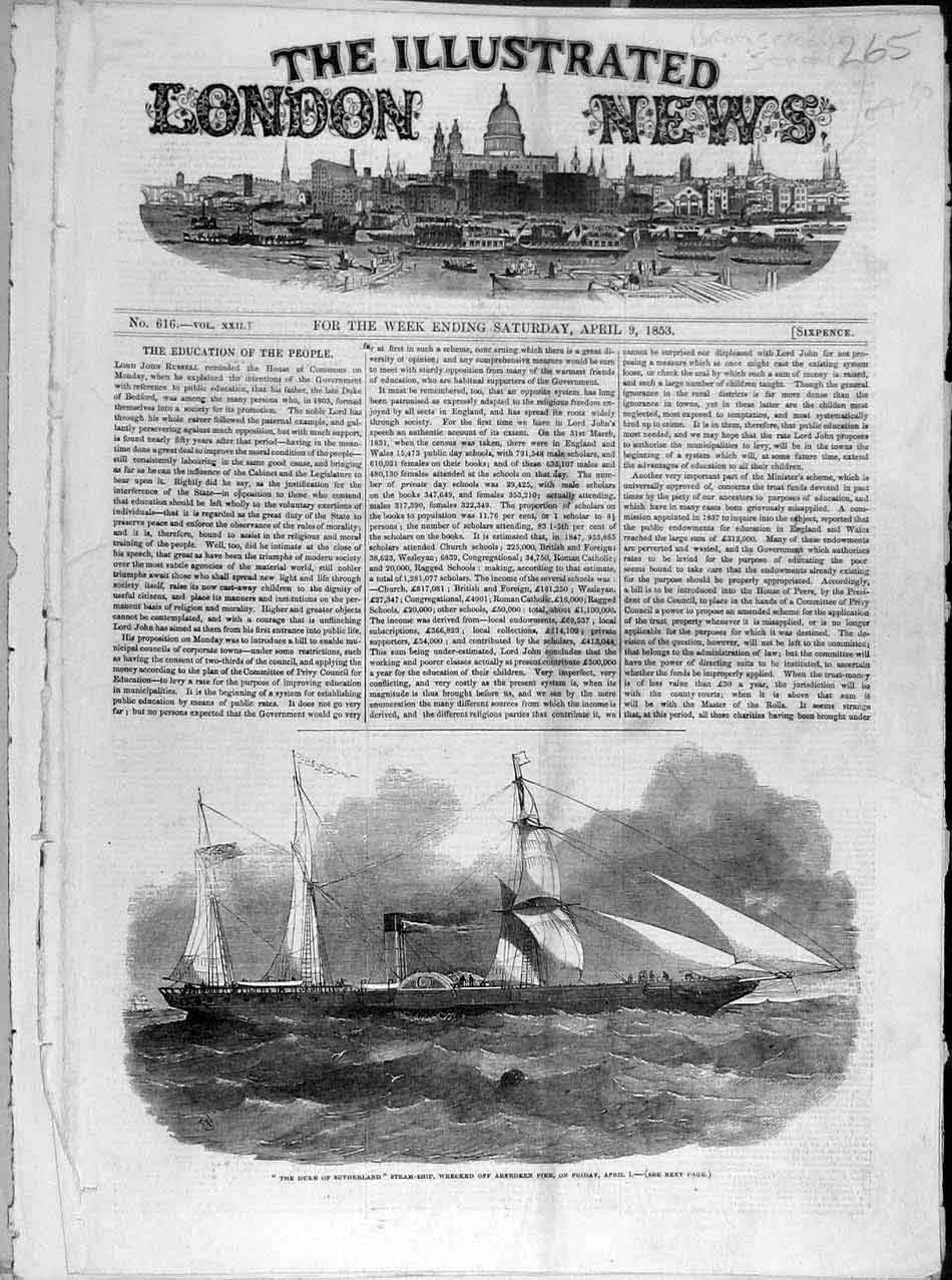 Print 1853 Duke-Sutherland Steam-Ship Aberdeen Pier Wreck 658041 Old Original