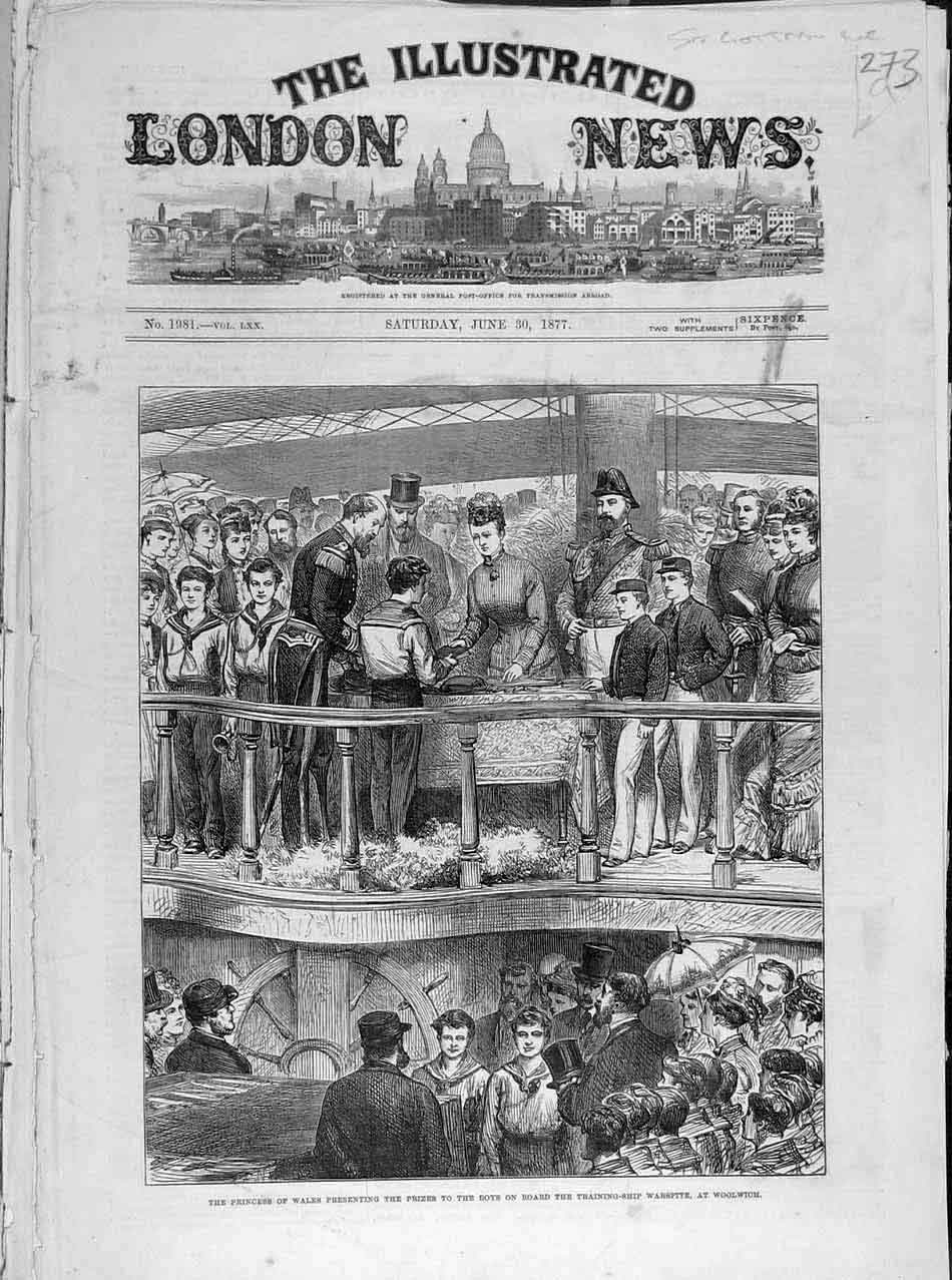 Print 1877 Training-Ship Warspite Woolwich Princess Wales 738041 Old Original