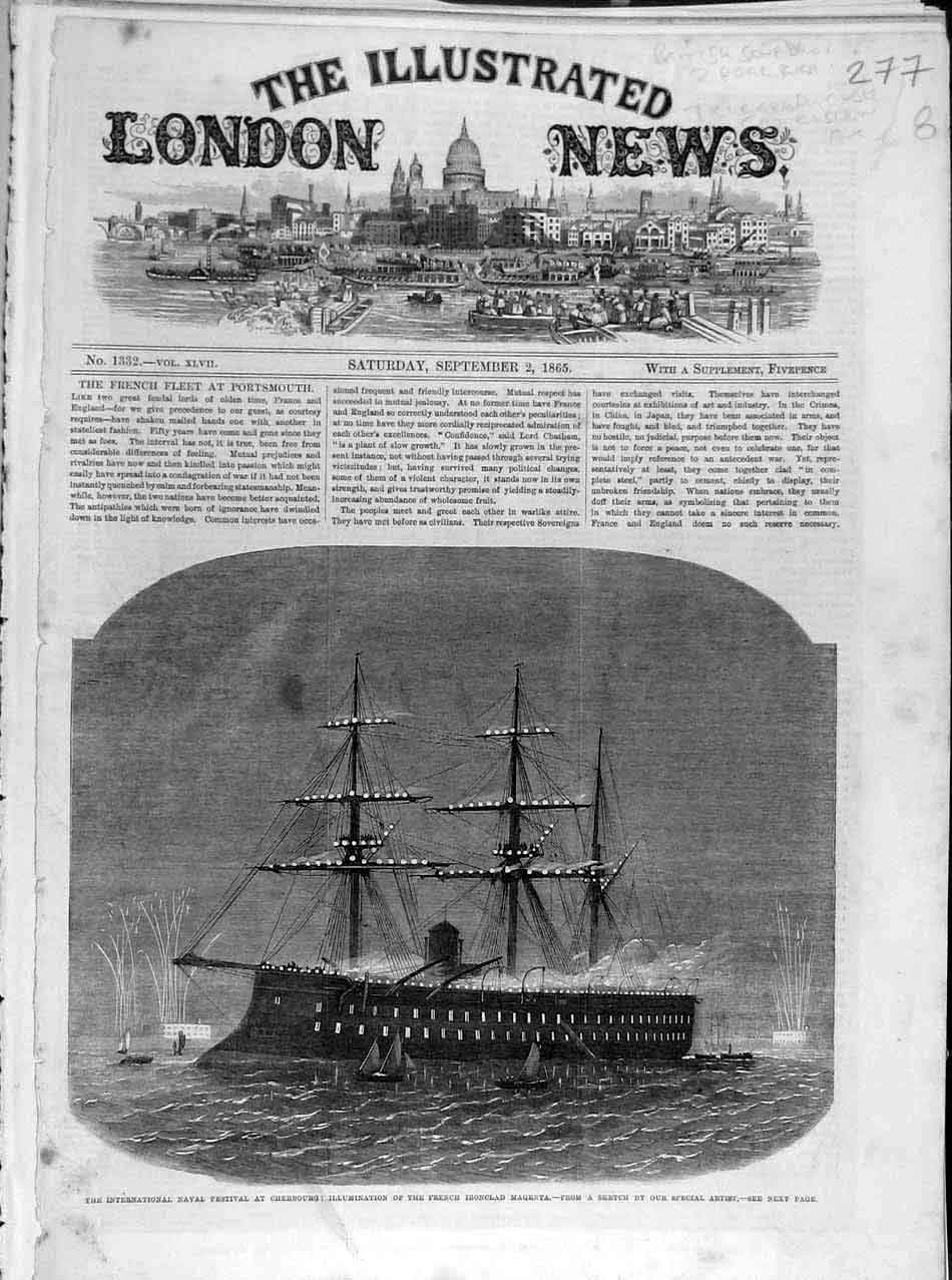 Print 1865 Naval Festival Cherbourg French Ironclad Magenta 778041 Old Original
