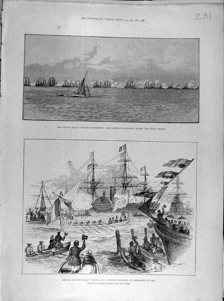 Print 1891 French Naval Portsmouth Philippe King Squadron 818041 Old Original