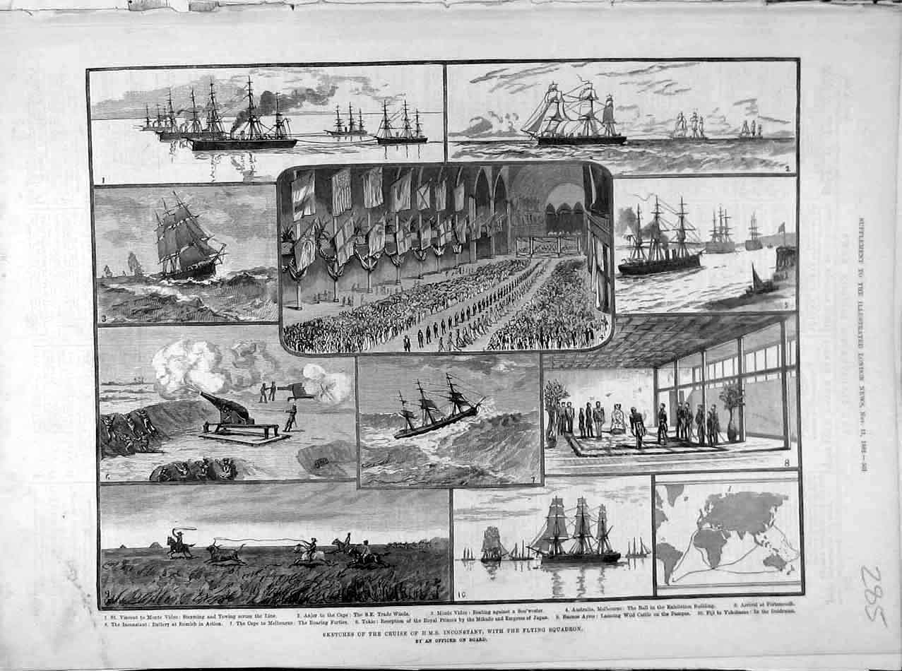 Print 1882 Sketches Cruise Hms Inconstant Flying Squadron 858041 Old Original