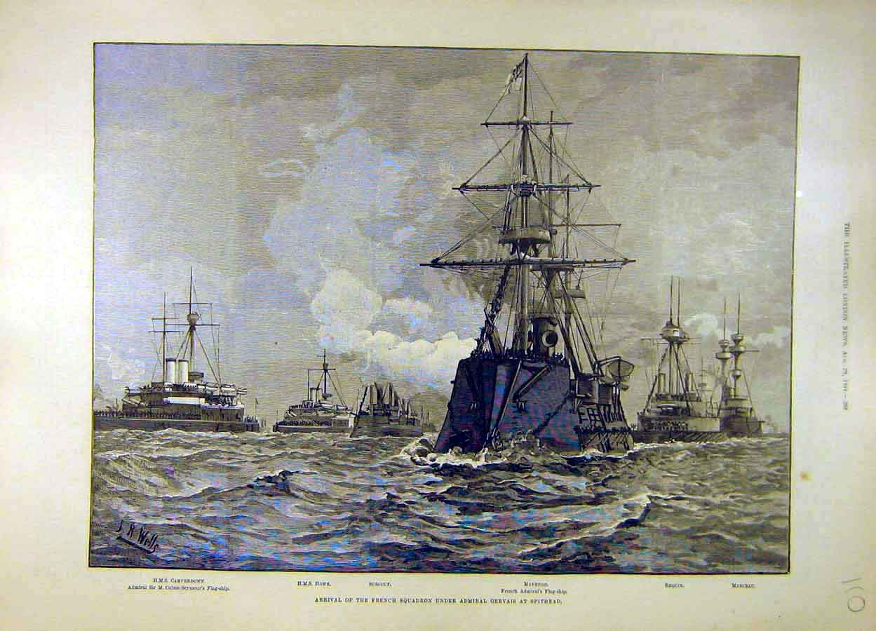 Print 1891 French Squadron Gervais Spithead Hms Howe 108051 Old Original
