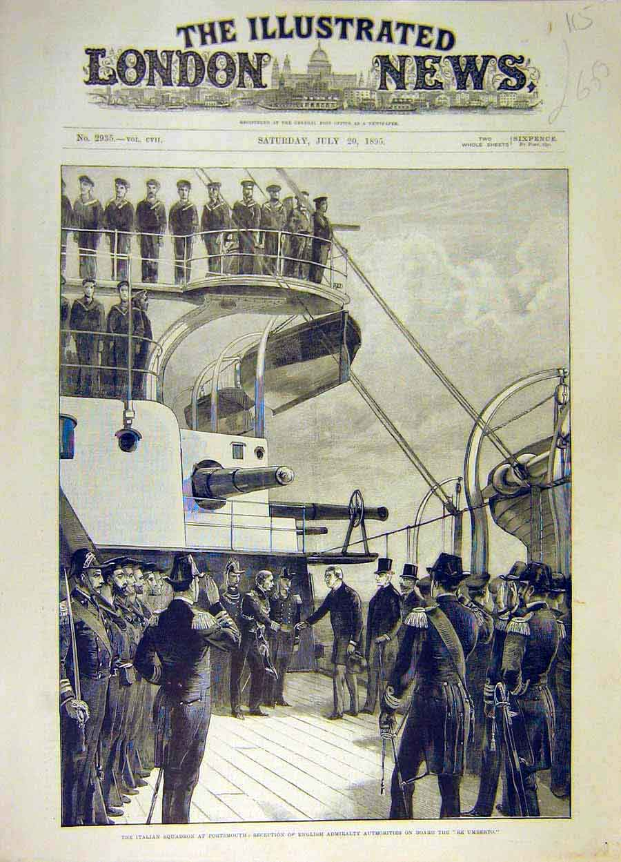 Print 1895 Italian Squadron Re-Umberto Ship English Admiralty 158051 Old Original
