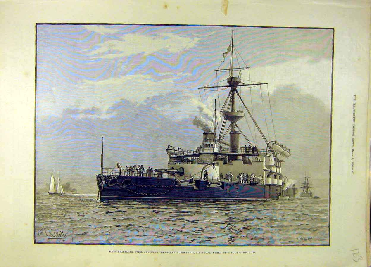 Print 1890 Hms Trafalgar Steel Armoured Screw-Turret Ship 238051 Old Original