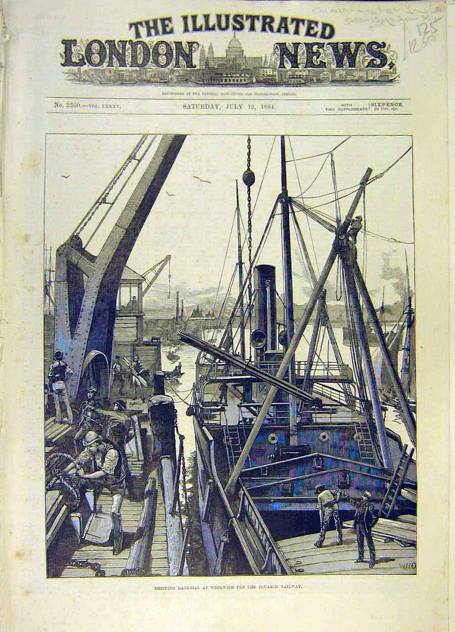 Print 1884 Woolwich Shipping Material Souakim Railway Dock 258051 Old Original