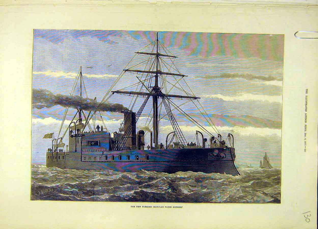 Print 1877 Turkish Iron-Clad Payki Shereef Ship 308051 Old Original