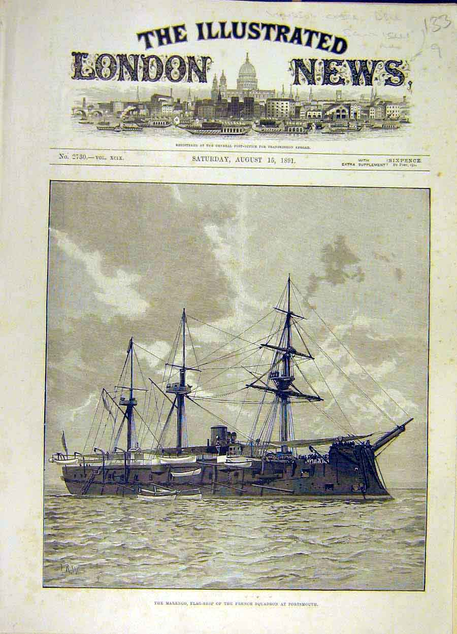 Print 1891 Marengo Flag-Ship French Squadron Portsmouth 338051 Old Original