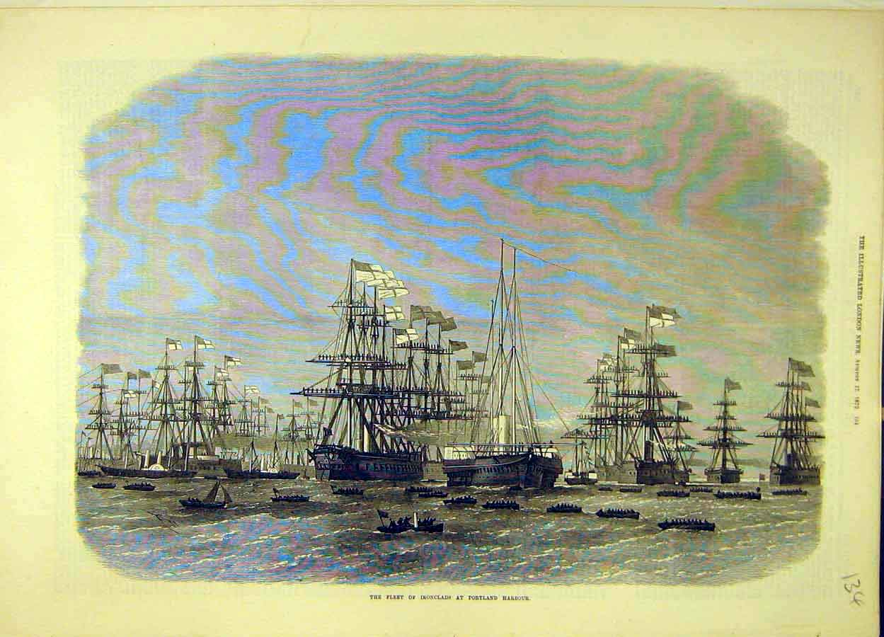 Print 1872 Fleet Iron-Clad Portland Harbour Ships Navy 348051 Old Original