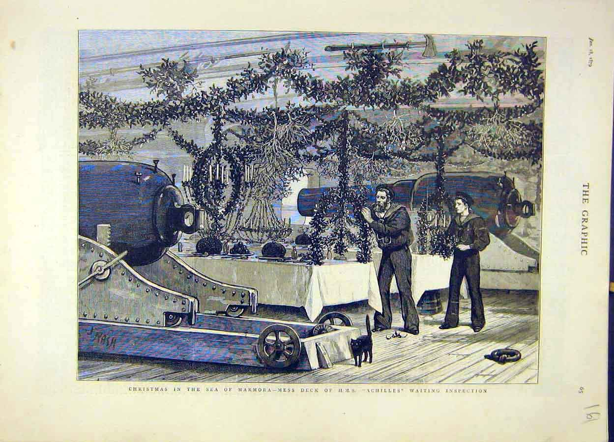 Print 1879 Christmas Sea Marmora Hms Achilles Deck Inspection 618051 Old Original