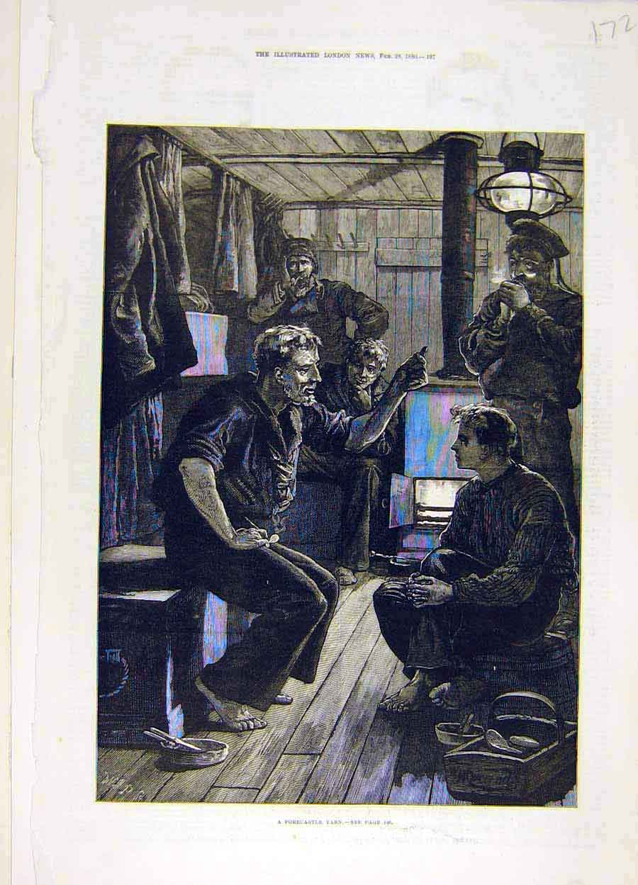 Print 1880 Forecastle Yarn Ship Story Sailors 728051 Old Original