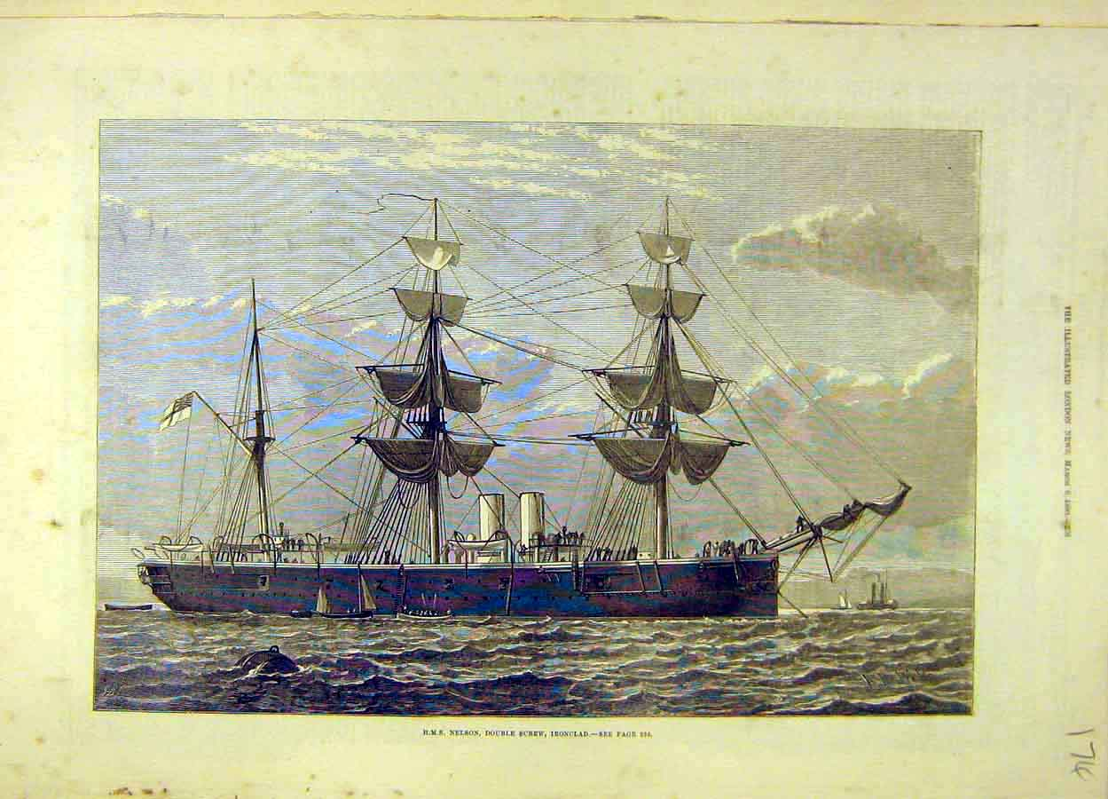 Print 1880 Hms Nelson Double-Screw Iron-Clad Naval 748051 Old Original