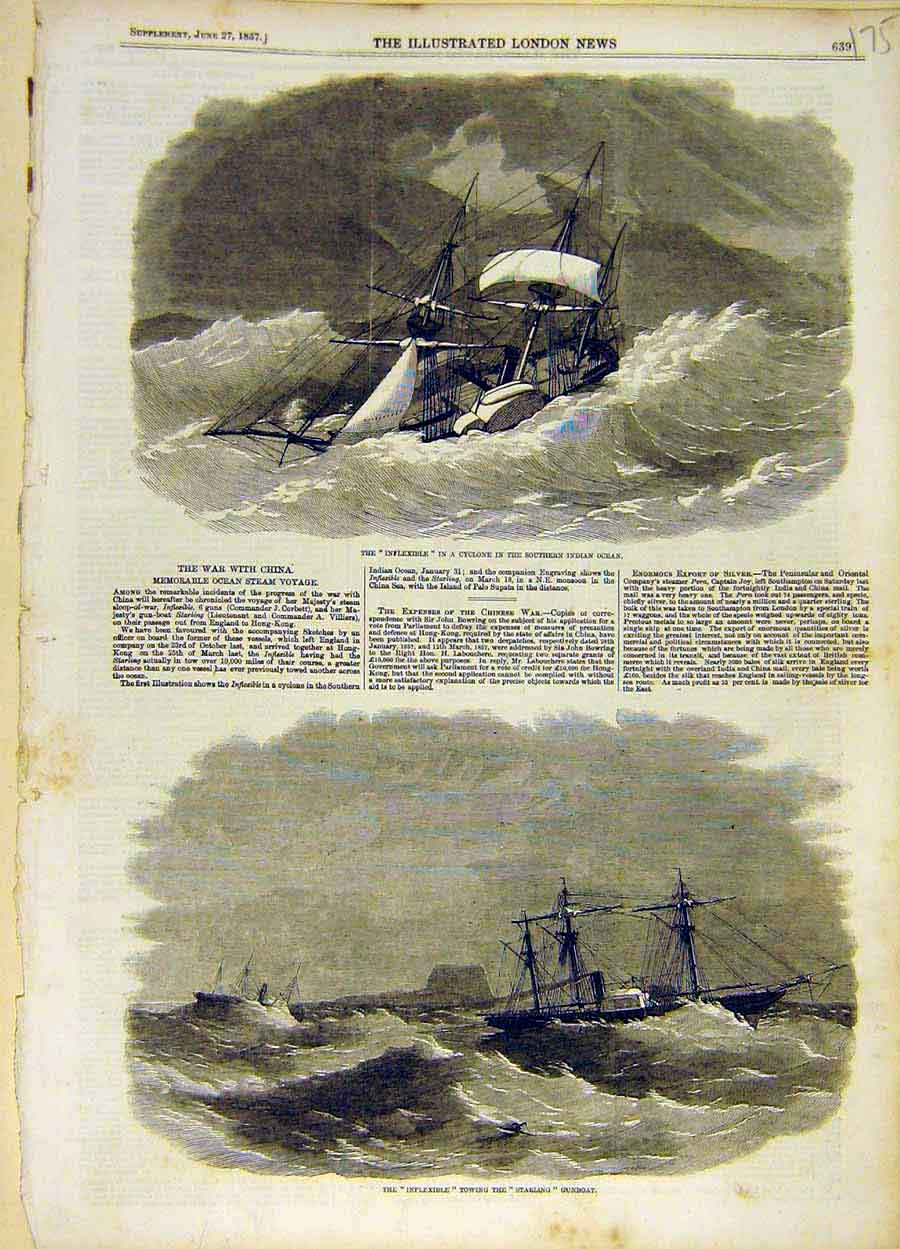 Print 1857 Hms Inflexible Cyclone Starling Gun-Boat Ship Navy 758051 Old Original