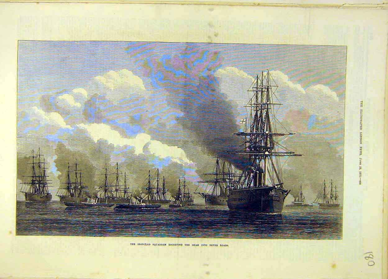 Print 1873 Iron-Clad Squadron Shah Dover Roads Navy 808051 Old Original
