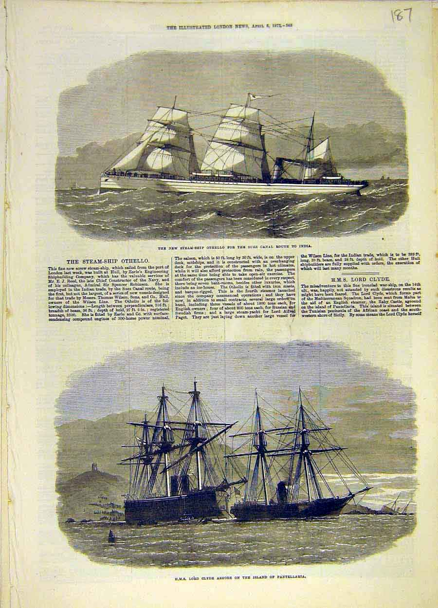 Print 1872 Steam-Ship Othello Hms Lord-Clyde Pantellaria 878051 Old Original