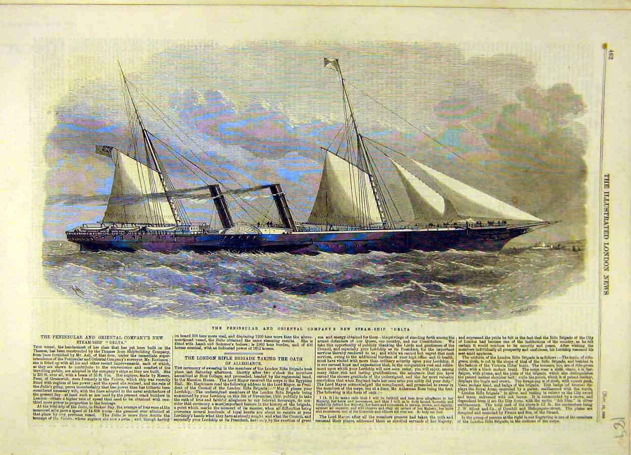 Print 1859 Penninsular Oriental Company Steam-Ship Delta 898051 Old Original