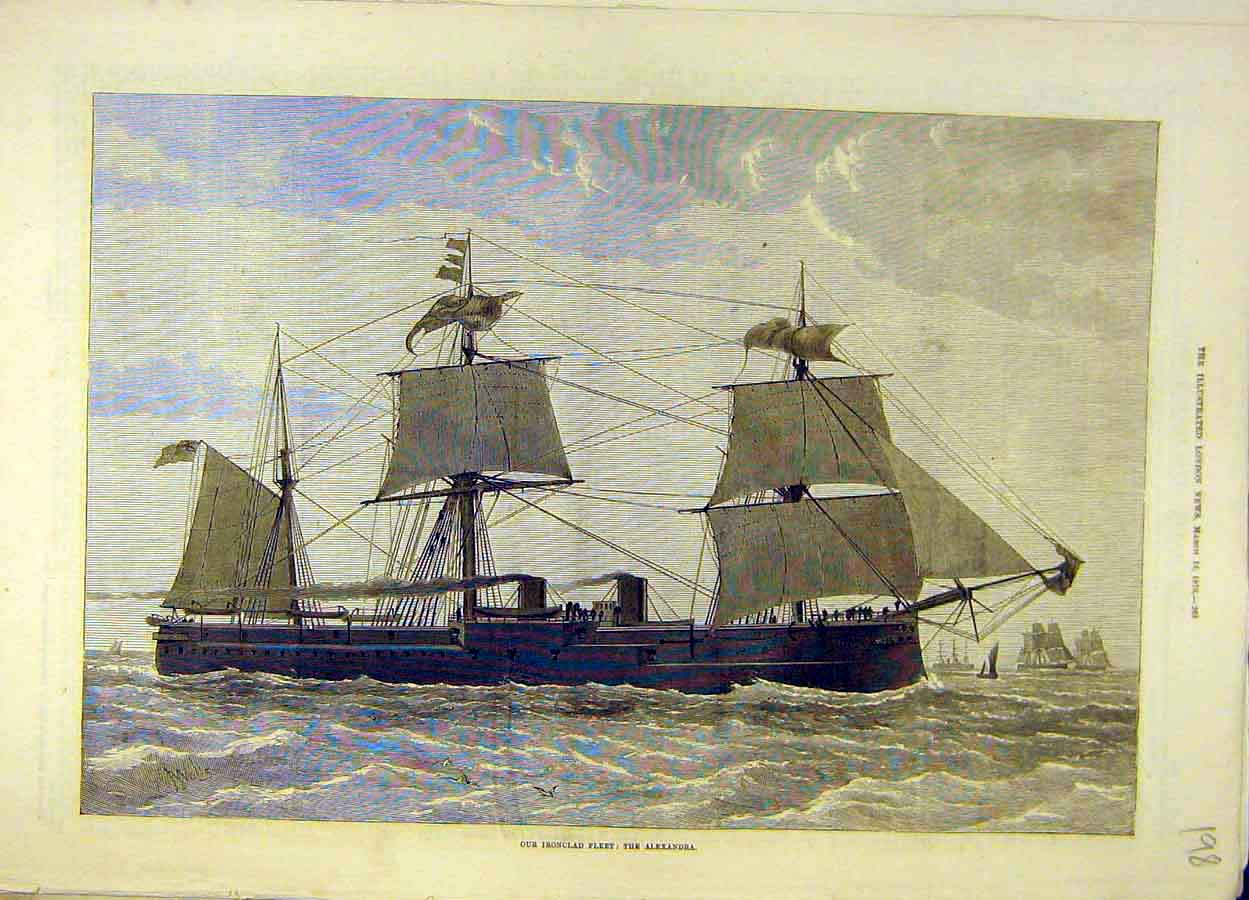 Print 1876 Iron-Clad Fleet Alexandra Naval 988051 Old Original