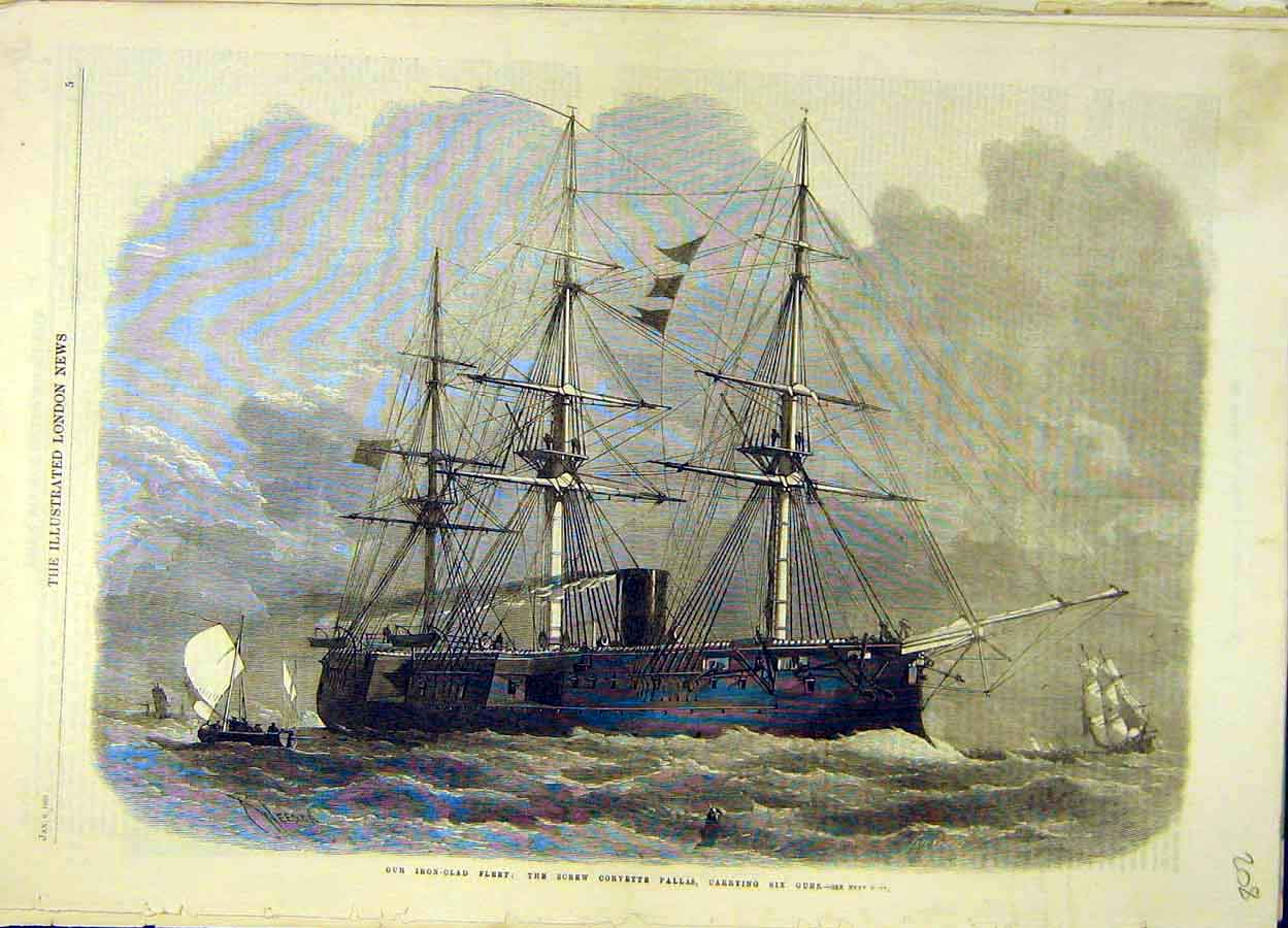 Print 1866 Iron-Clad Fleet Screw-Corvette Pallas Gun-Ship 088051 Old Original