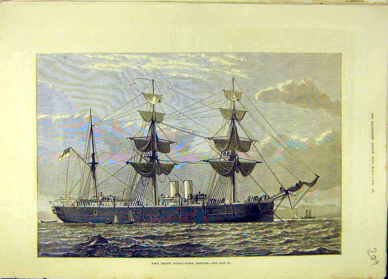 Print 1880 Hms Nelson Double-Screw Iron-Clad Ship Naval 098051 Old Original