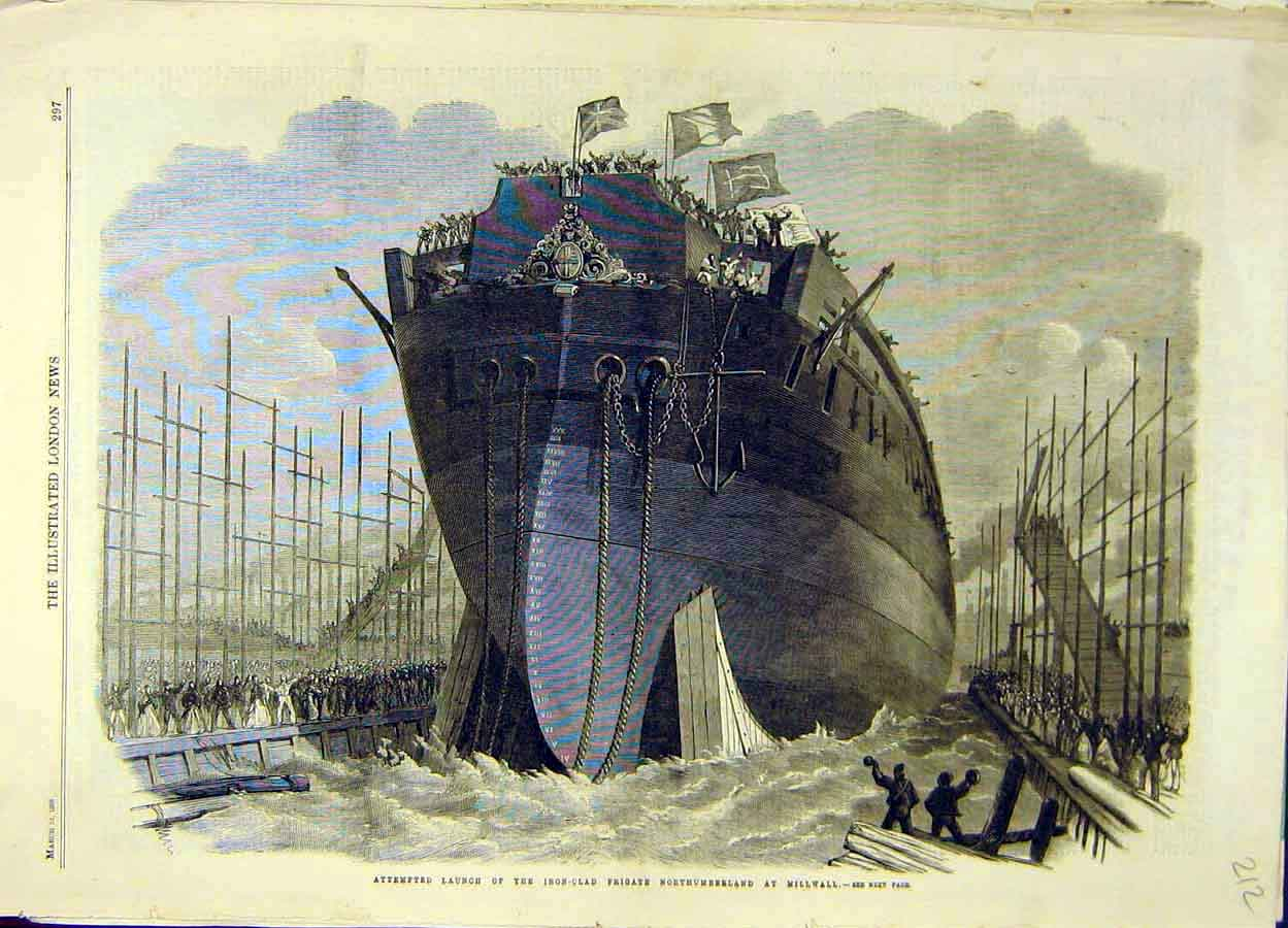 Print 1866 Iron-Clad Launch Frigate Millwall Northumberland 128051 Old Original