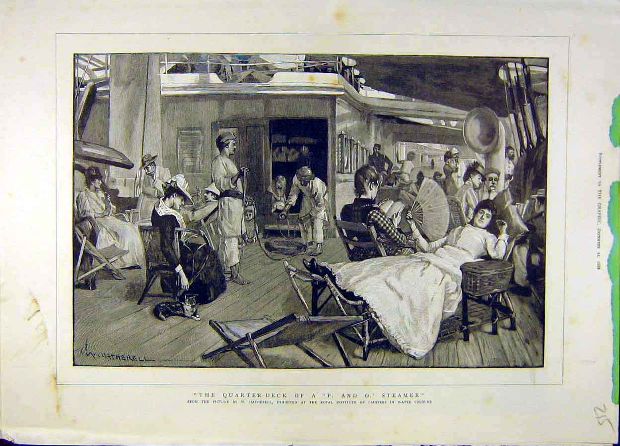 Print 1888 Quarter-Deck P And O Steamer People Ship Hatherell 158051 Old Original