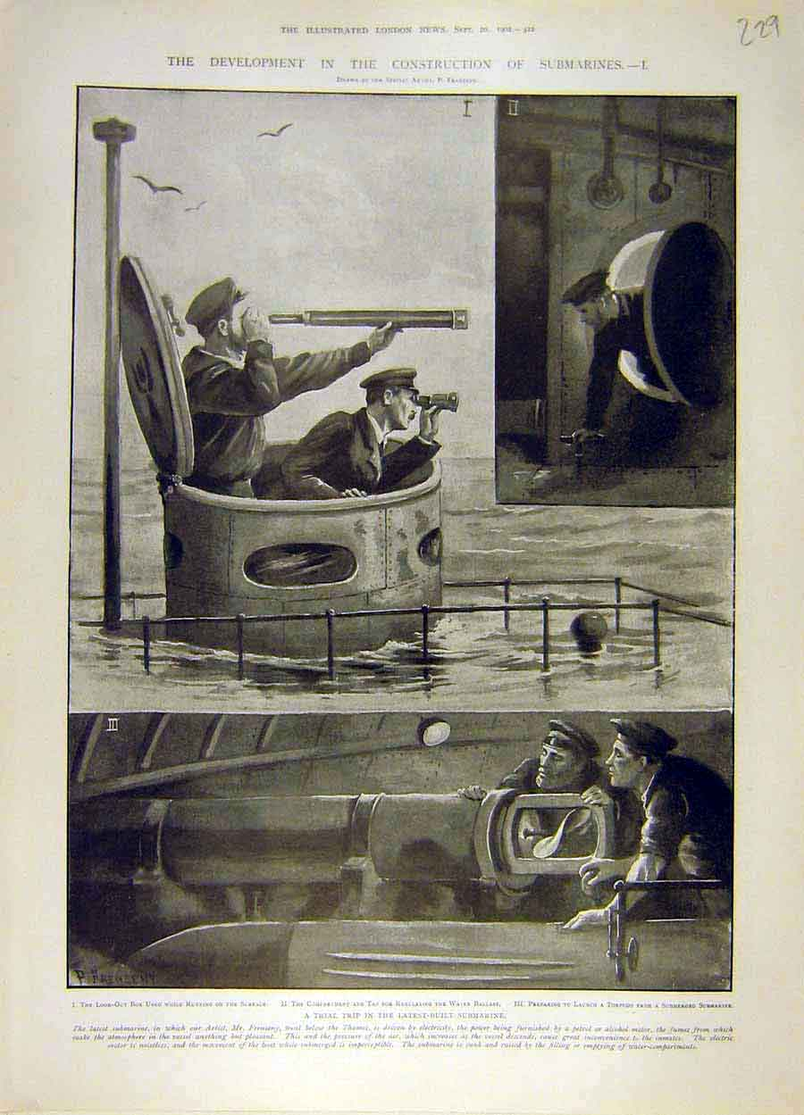 Print 1902 Submarines Trial Construction Naval 298051 Old Original