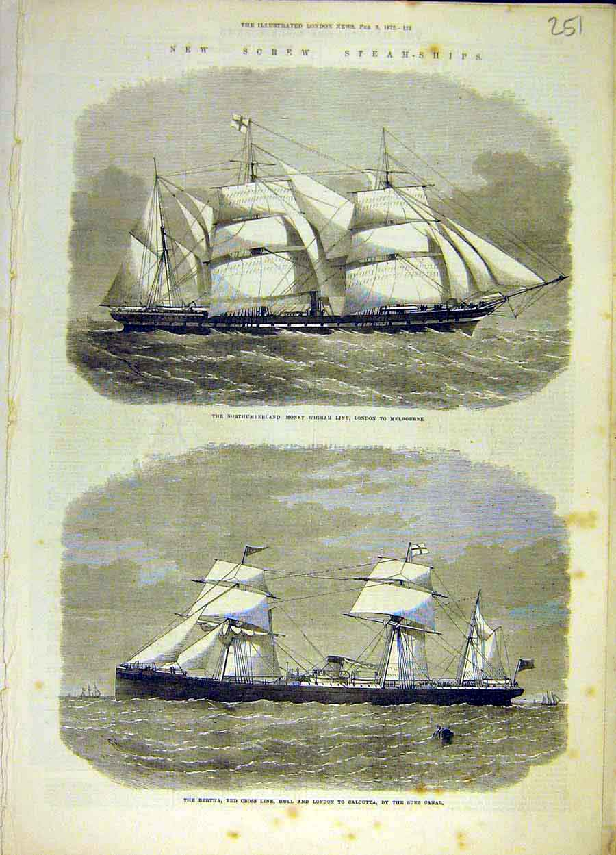 Print 1872 Steam-Ships Bertha Red-Cross Line Money-Wigram 518051 Old Original