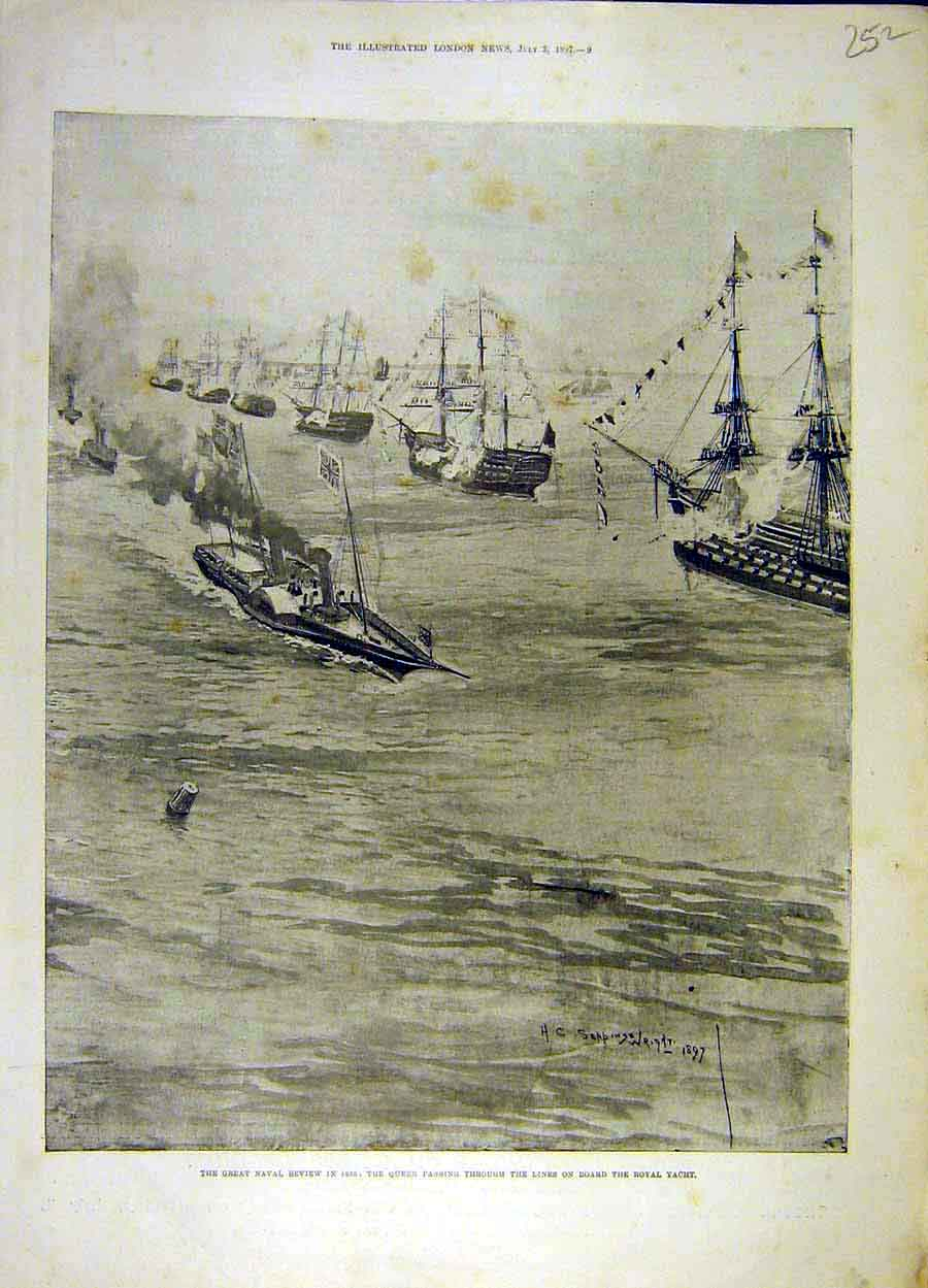 Print 1897 Naval Review Queen Royal Yacht Squadron 528051 Old Original