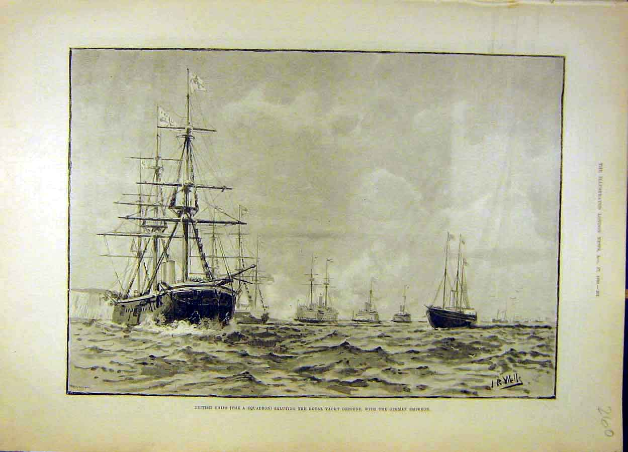 Print 1889 British Ships Squadron Royal Yacht Osborne 608051 Old Original