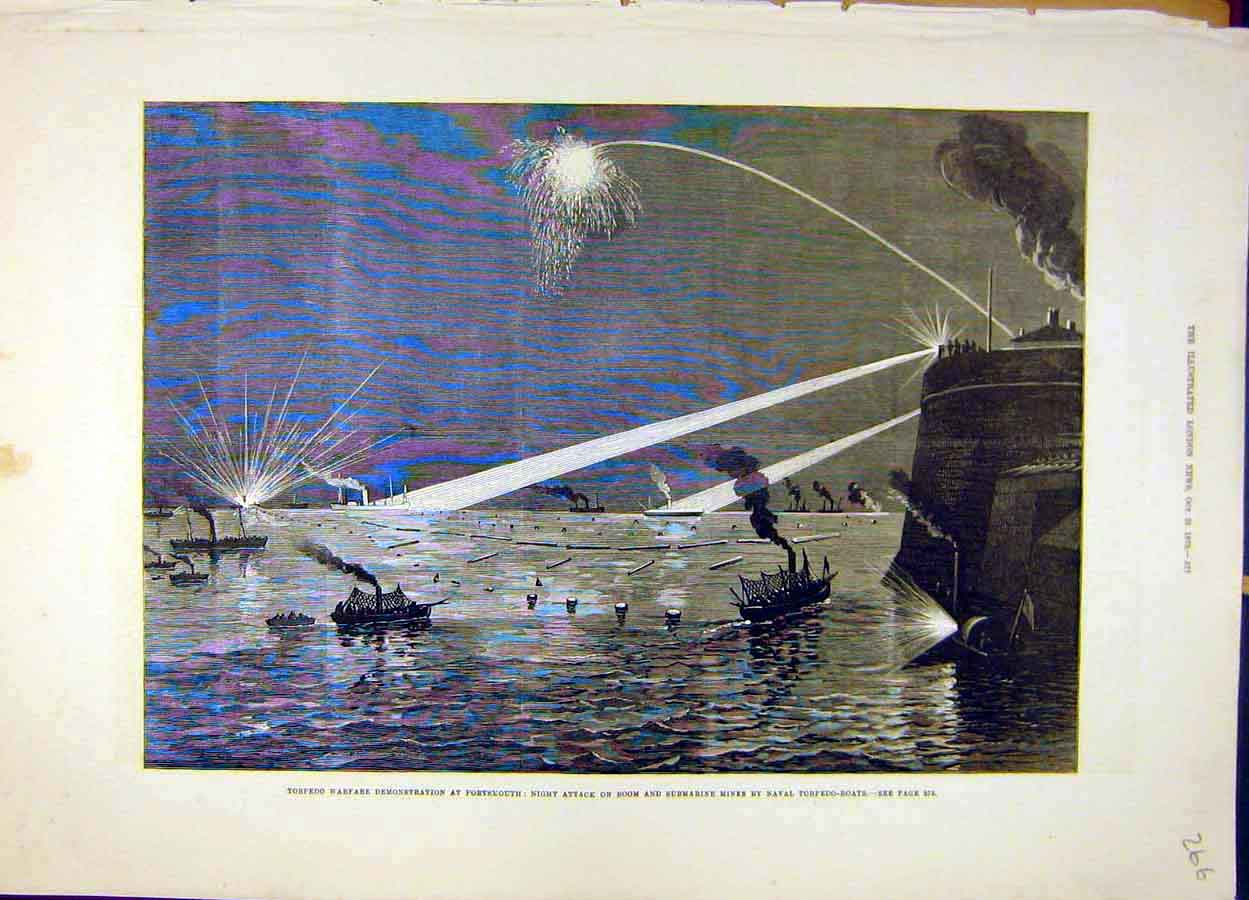 Print 1879 Torpedo Warfare Portsmouth Submarine Mines Naval 668051 Old Original