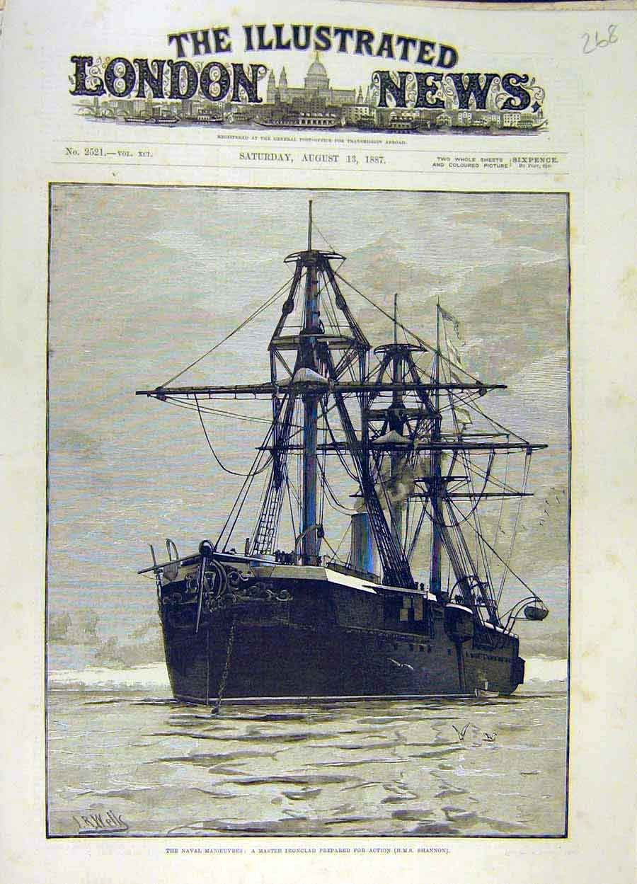 Print 1887 Naval Manoeuvres Iron-Clad Hms Shannon Ship 688051 Old Original