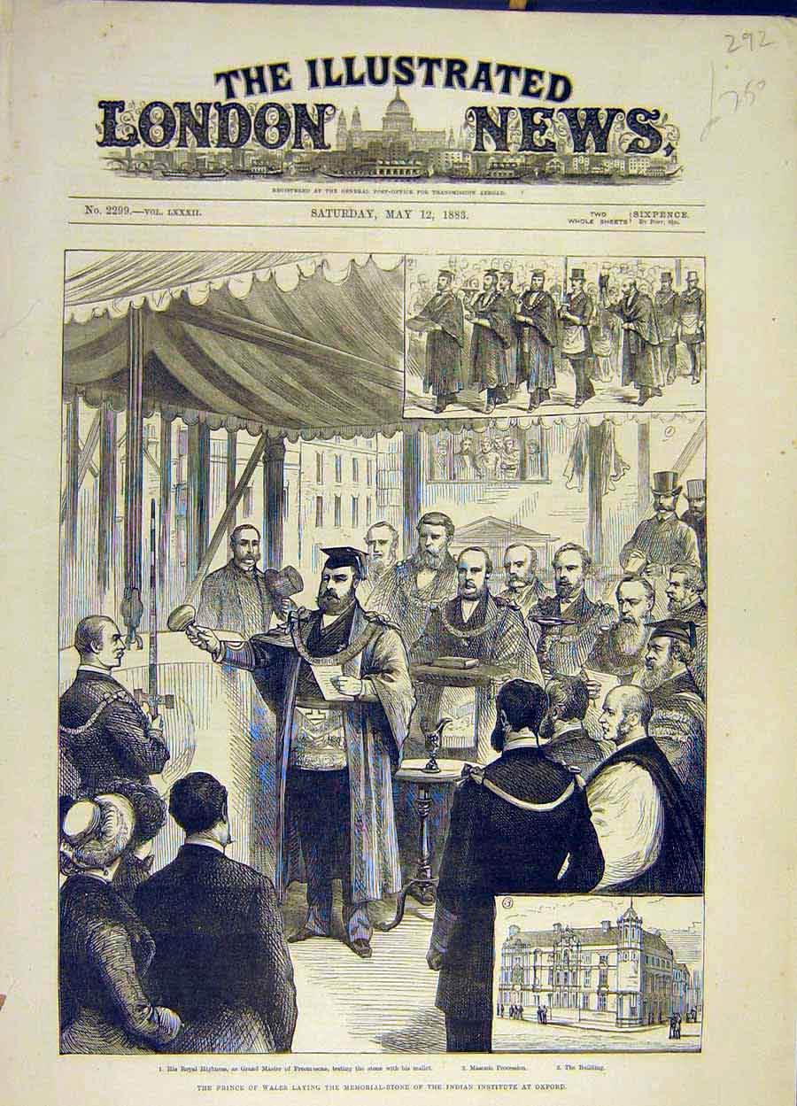 Print 1883 Prince Wales Memorial Indian Institute Oxford 928051 Old Original